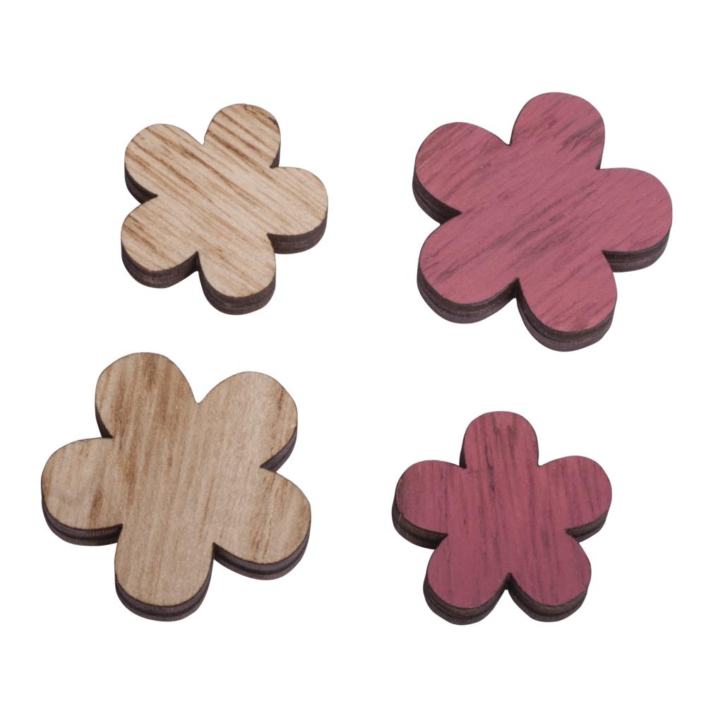 Holz Streuteile Blume, Stärke 0,5cm, 3-3,7cm, SB-Btl 9Stück