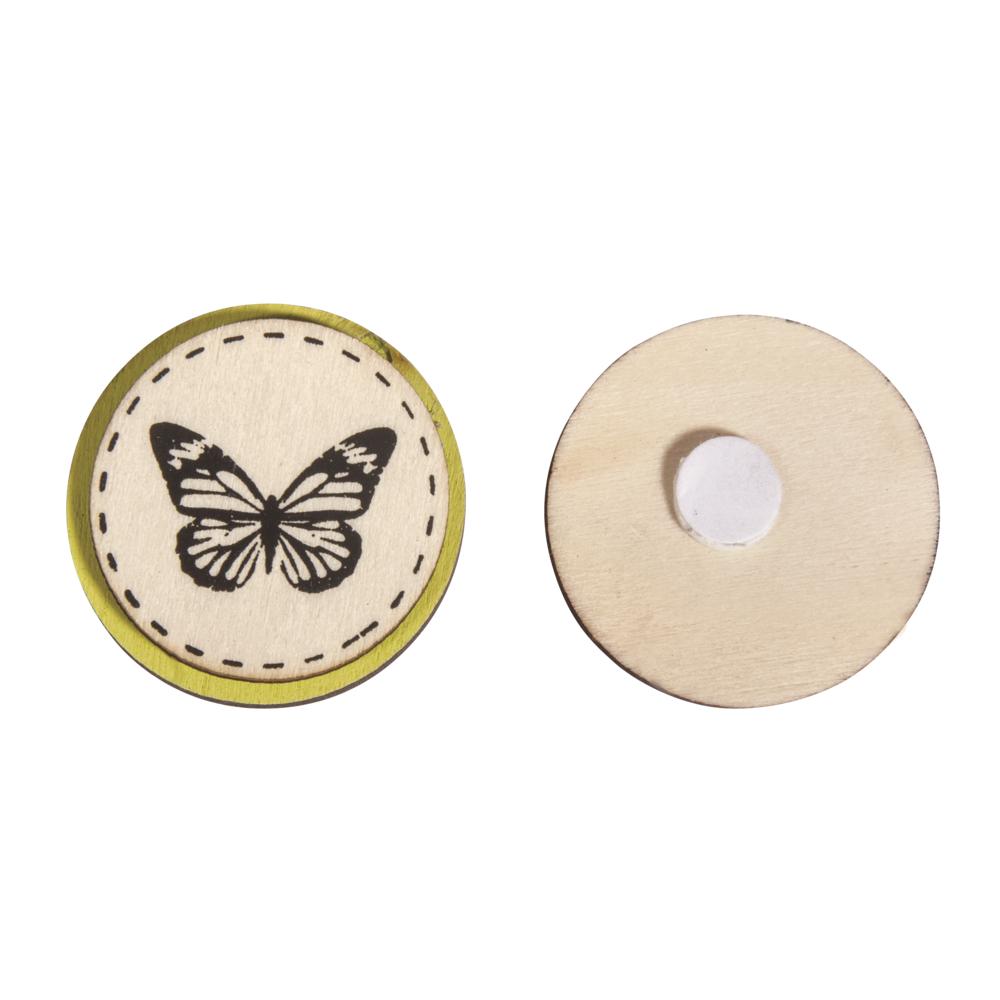 Holz Scheiben Schmetterling, 3,5cm ø, mit Klebepunkt, SB-Btl 6Stück