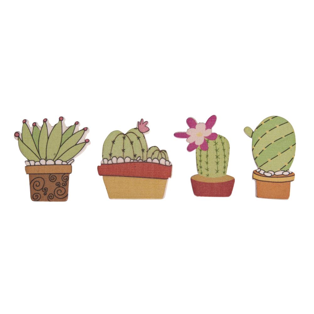 Holz-Streuteile Kaktus mit Klebepunkt, 2,5-3 x 3,5cm, SB-Btl 12Stück