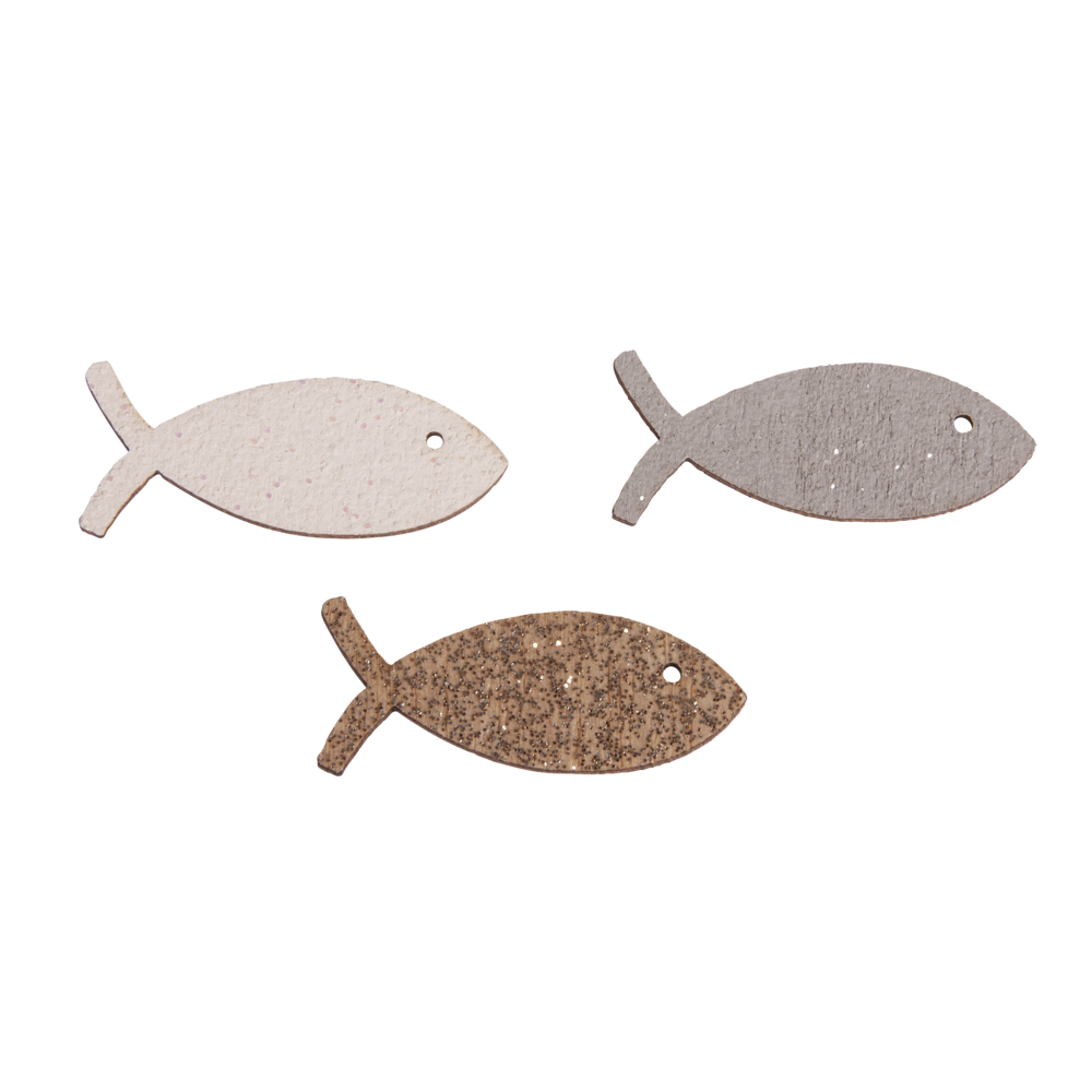 Holz-Streuteile Fisch mit Glitzer, 3,3x1,3cm, farbl. sort., SB-Btl 12Stück