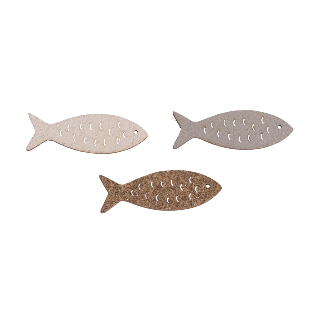 Holz-Streuteile Fisch mit Glitzer, 4x1,3cm, farbl. sort., SB-Btl 12Stück
