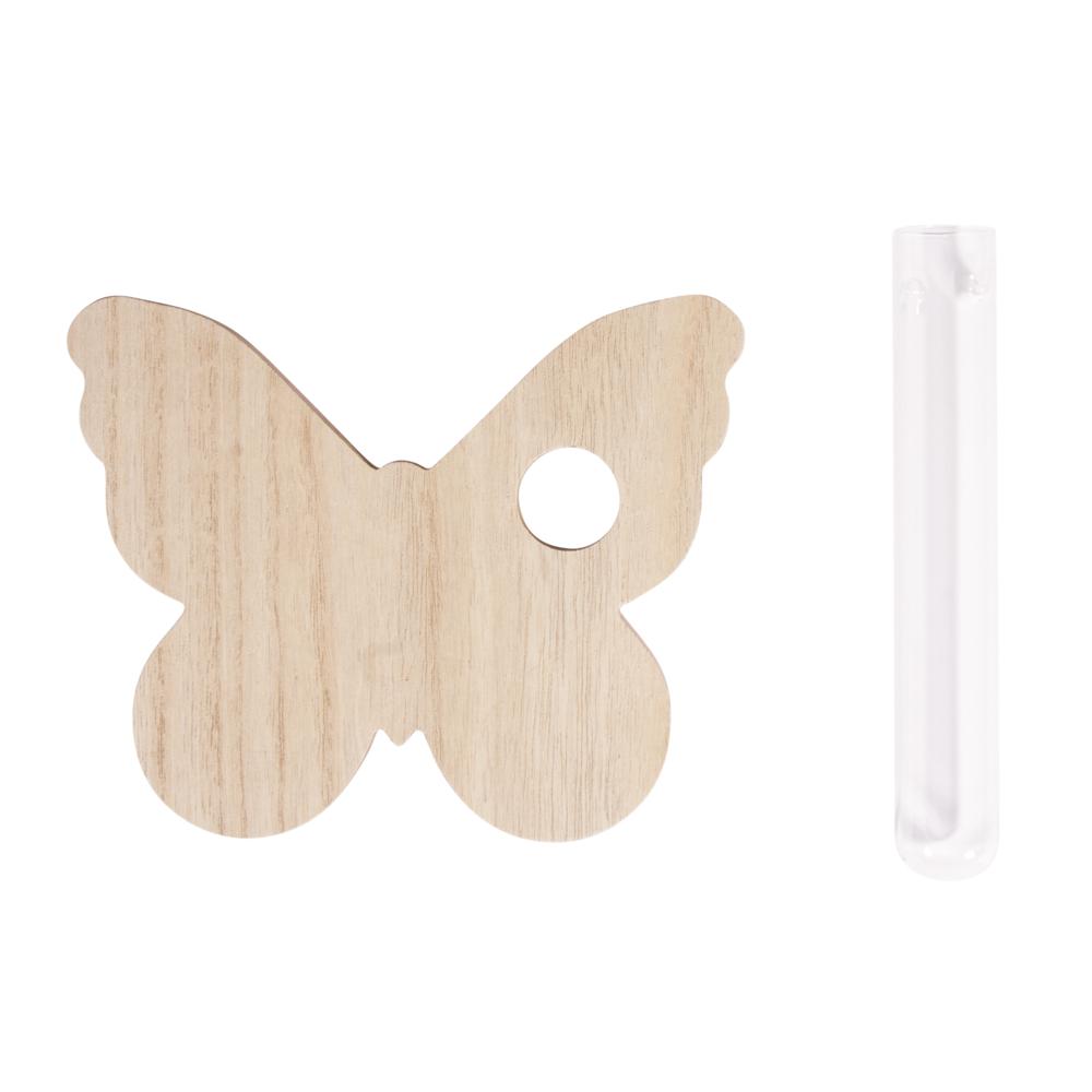 MDF-Aufsteller Schmetterling, 14x17x0,8cm, m. Glasröhre ø2,5x16cm