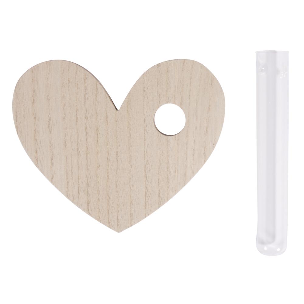 MDF-Aufsteller Herz, 14x17x0,8cm, m. Glasröhre ø2,5x16cm