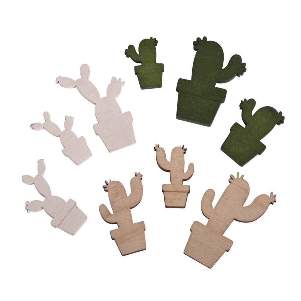 Holz-Streuteile Kakteen, FSC 100%, 1,4-2,5x2,1-3,8cm, SB-Btl 18Stück