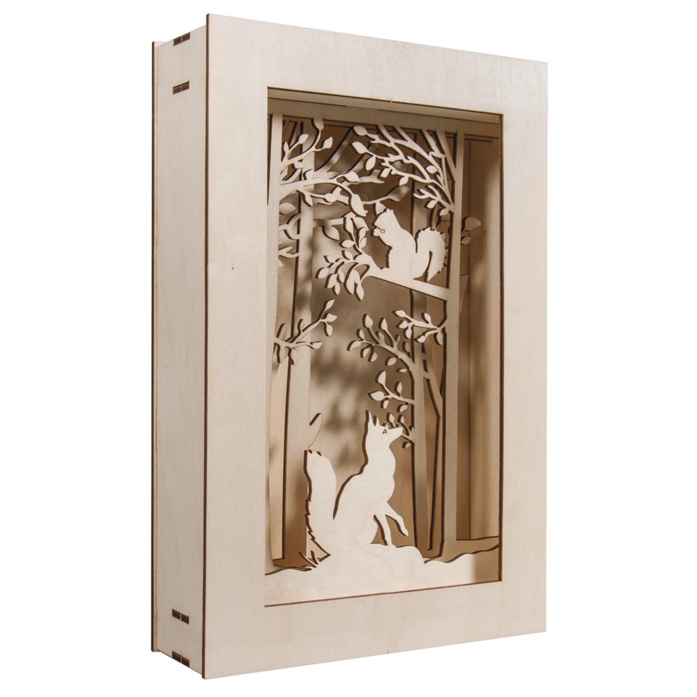 Holzbausatz 3D-Motivrahmen, Wald,FSC100%, 20x30x6,6cm, 15-tlg. , 1Set