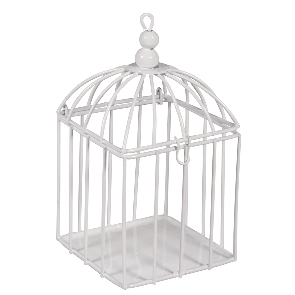 Deko-Metall-Vogelkäfig, 7x7x13cm, mit Verschluss, weiß