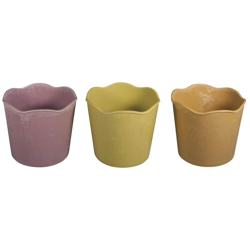 Kunststoff-Blumentöpfe, 14cm ø, 12,5cm, rosa,orange,grün, 3Stück, bunt
