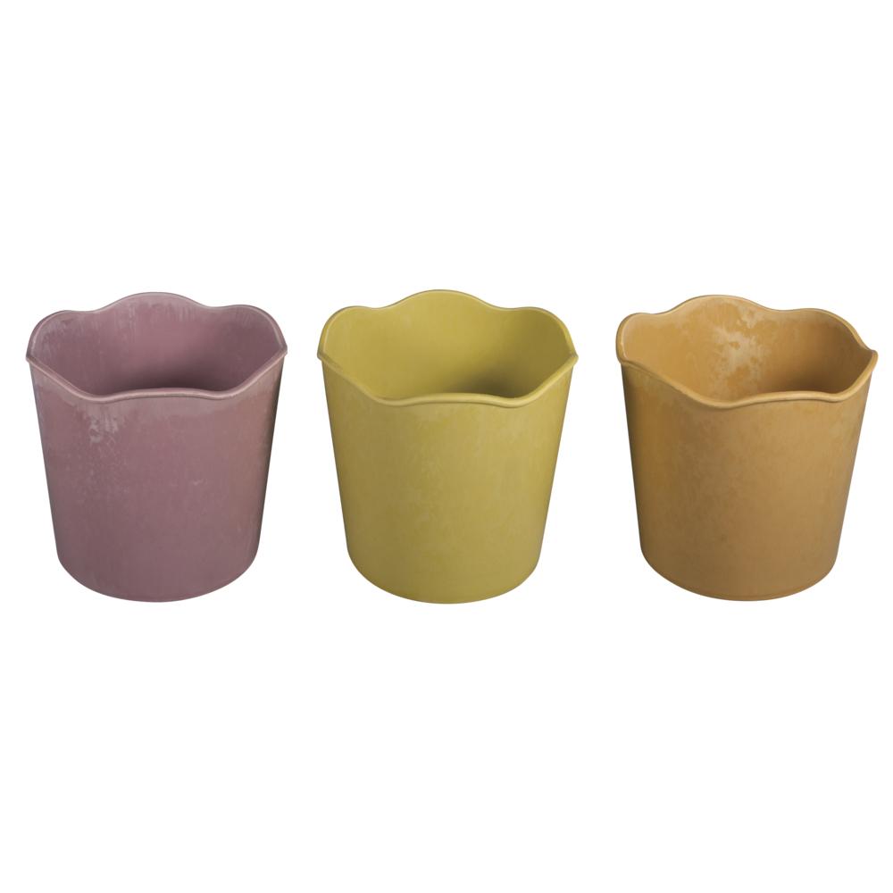 Kunststoff-Blumentöpfe, 12,2cm ø, 9,5cm, rosa,orange,grün, 3Stück, bunt