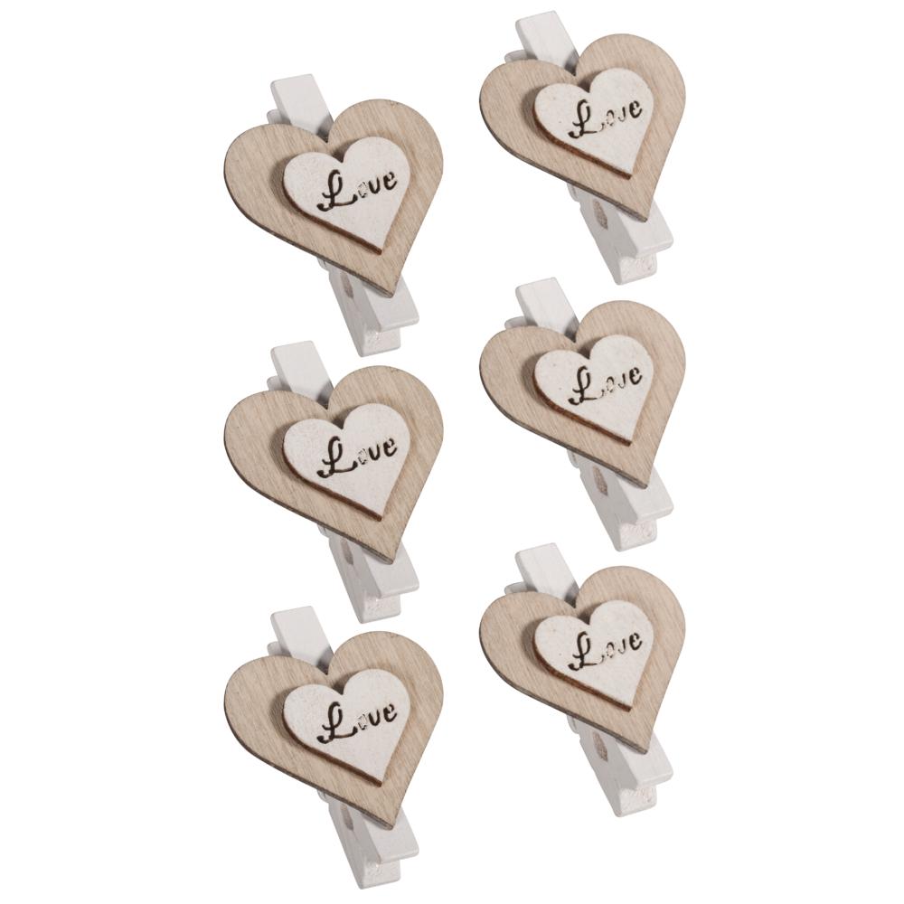 Holz-Herz auf Klammer Love, 3,5x4,5cm, SB-Btl 6Stück