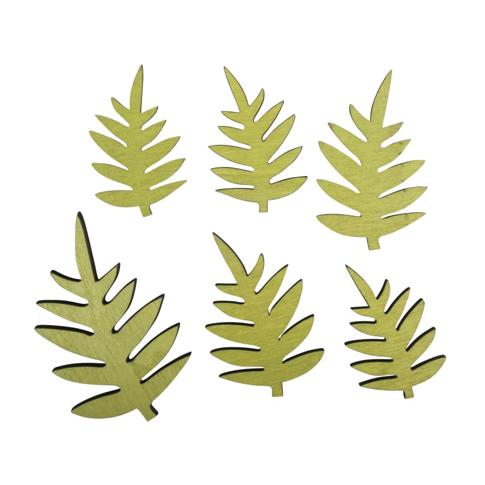 Holzstreuteil Farn Blatt, 3x4,7cm-4,5x6,9cm, SB-Btl 6Stück, avocado
