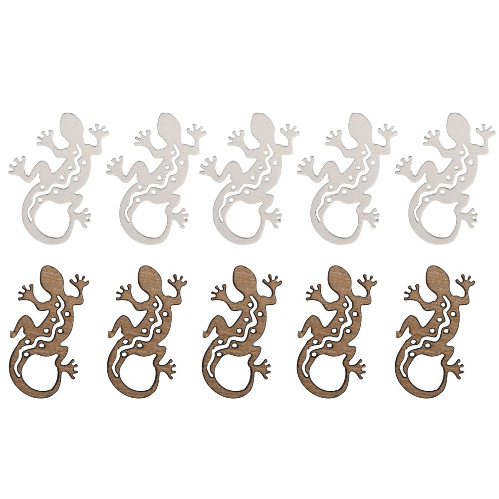 Holz-Streuteile Salamander, 4x3cm, weiß/natur, SB-Btl 10Stück