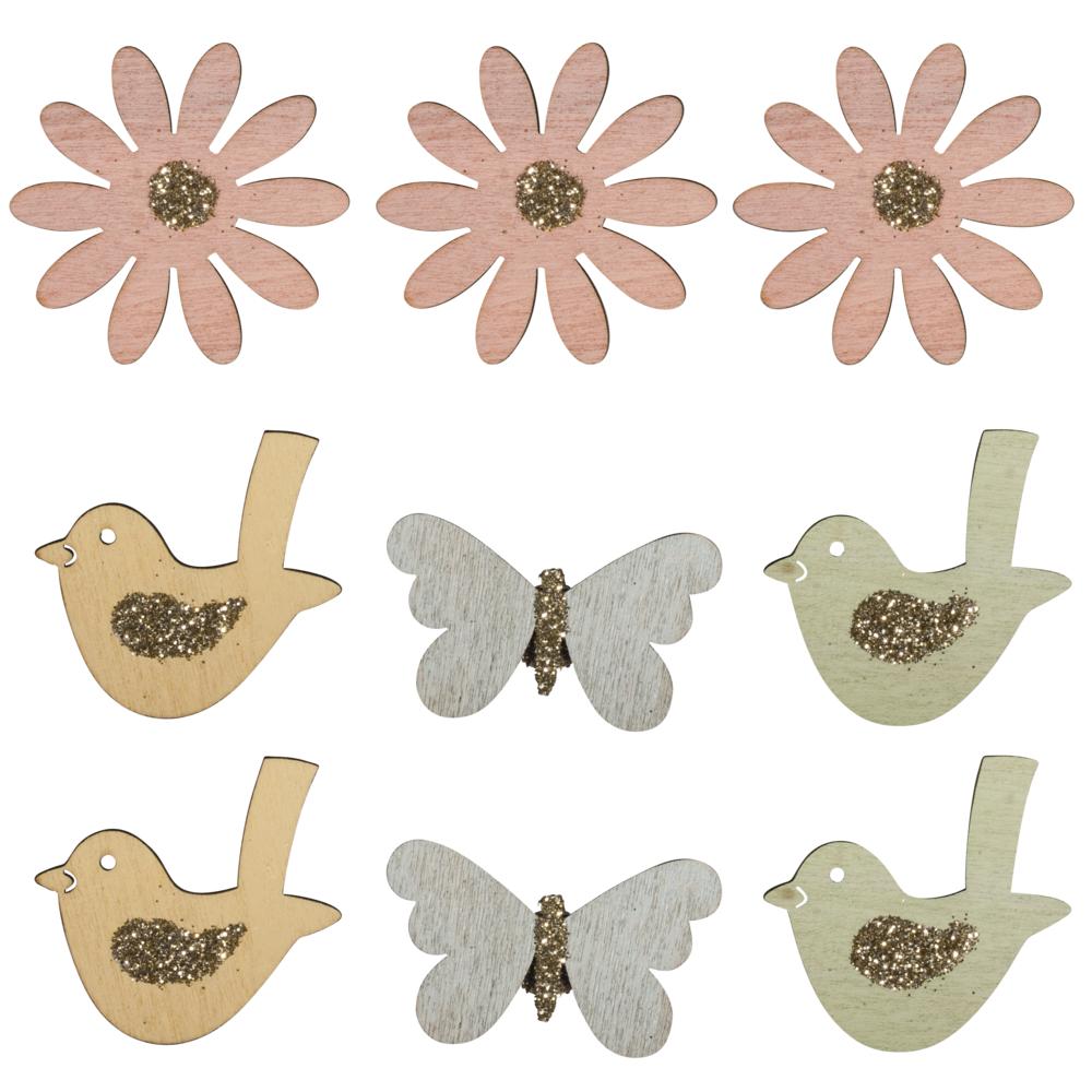 Holz-Streuteile Frühling mit Klebepunkt, 3,7-4x3,7-4cm, m. Glitter, SB-Btl 9Stück