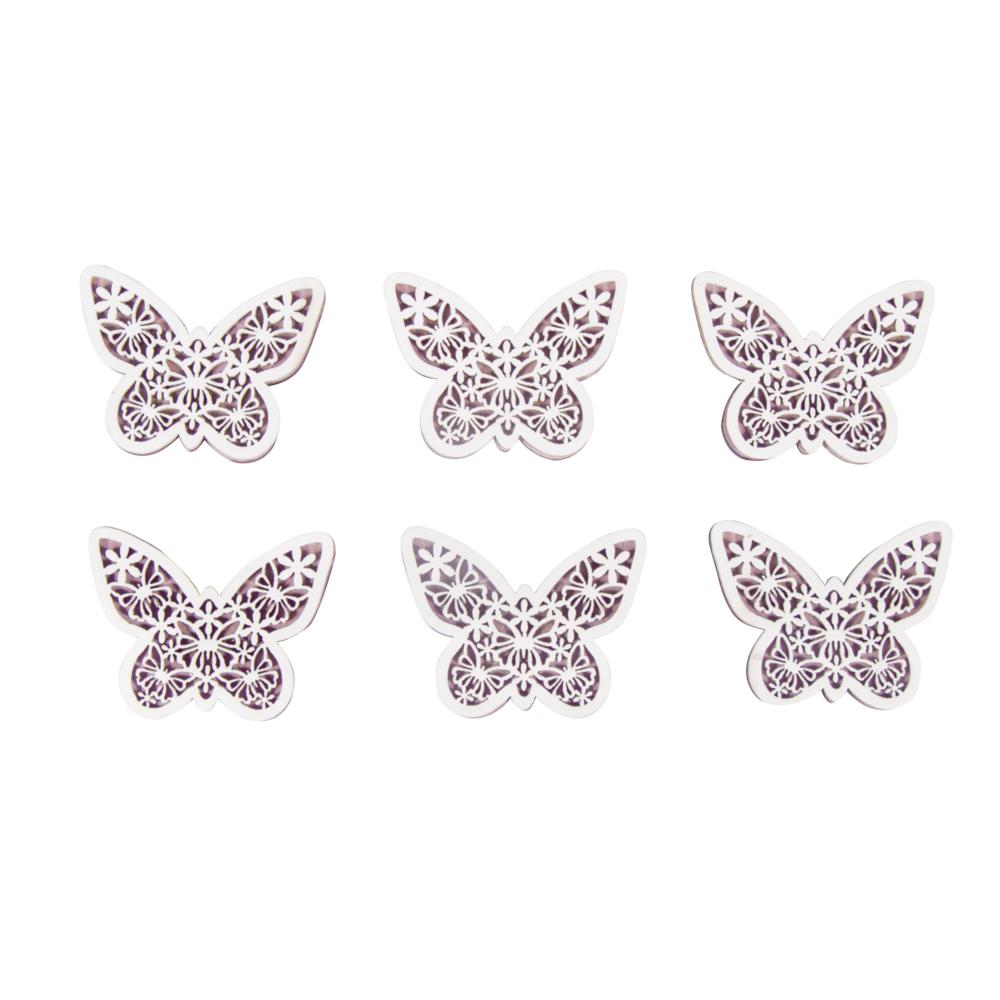 Holz Schmetterlinge, 5x4x0,5cm, m. Klebep., SB-Btl 6Stück