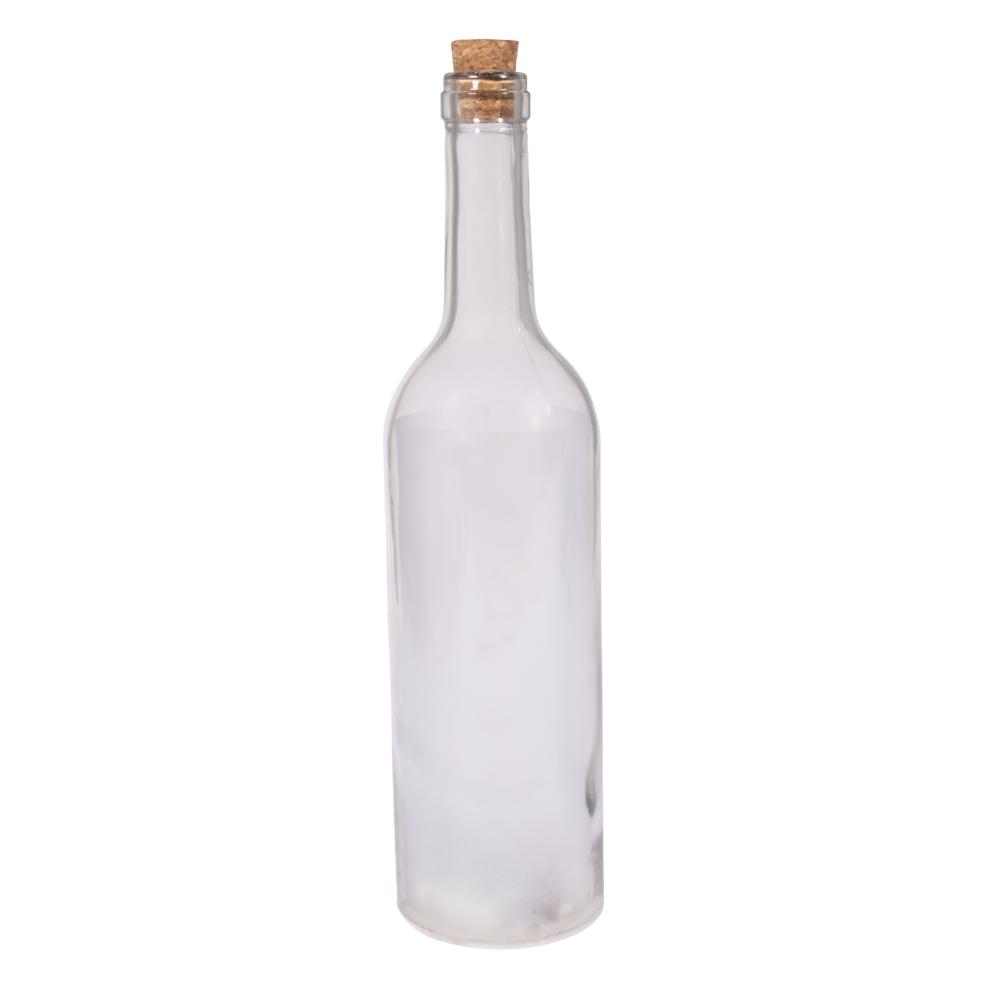 Glas-Leuchtflasche mit 5-er LED, 7,2cm ø, 30cm, inkl. LED+Sternfolie, Box 1Set, kristall