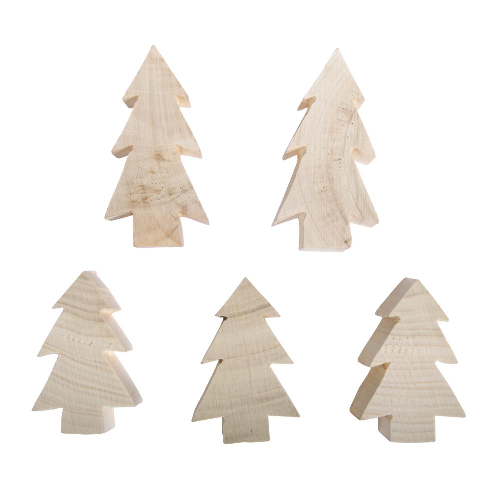 Holz Tannenbäume, sortiert, 2x H:8cm,3x H:6cm, Box 5Stück, natur