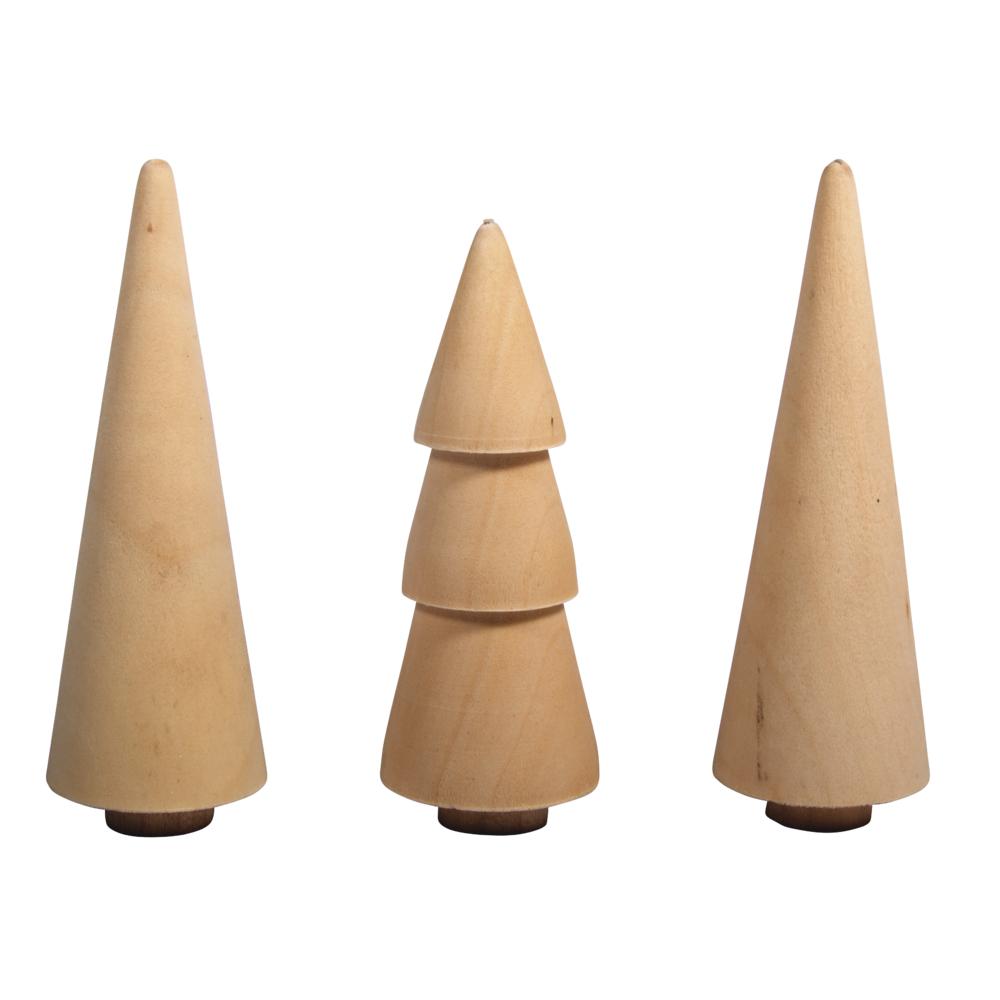 Holz Bäume, 2,9cm ø, sortiert 7,8-8,5cm Höhe, Box 3Stück, natur