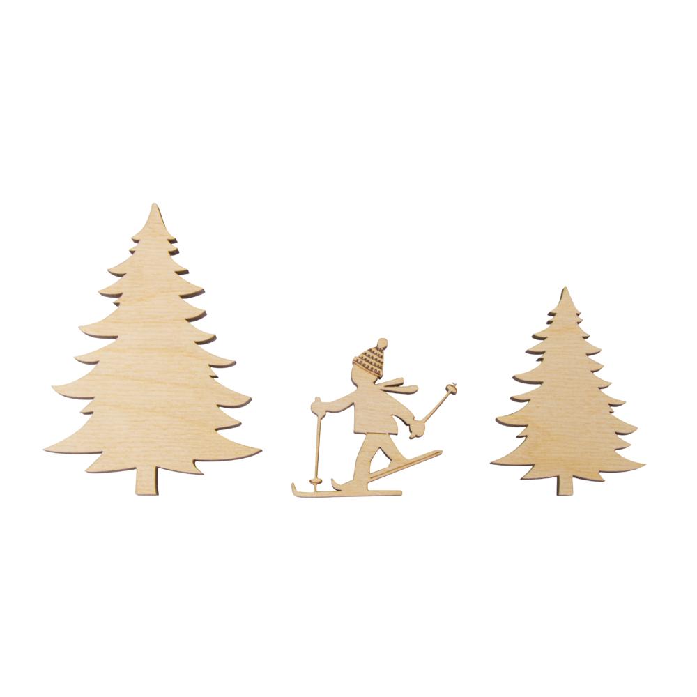 Holz-Streudeko Skifahrer, FSC Mix Cred, 3tlg., 5,5-10cm, Stärke 6mm, SB-Box 1Set, natur