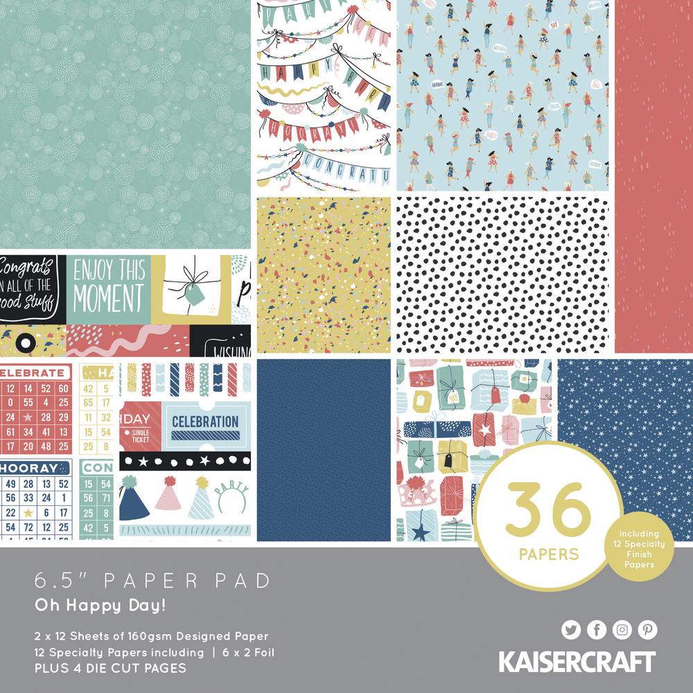Scrap.Block Oh Happy Day, 16,5x16,5cm, 160g/m2, 40Bogen