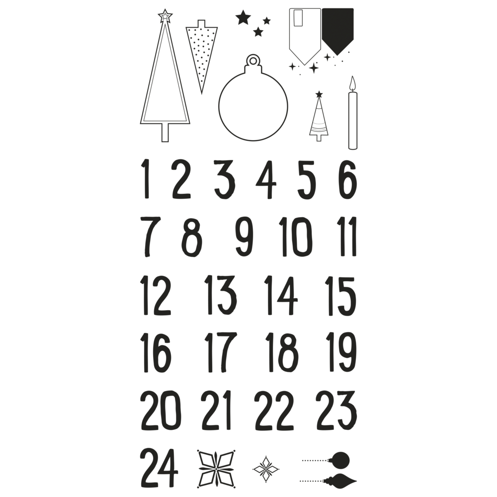 Clear Stamps - Adventskalender Nordic, 97x205mm, 34 Motive, SB-Btl. 1Bogen