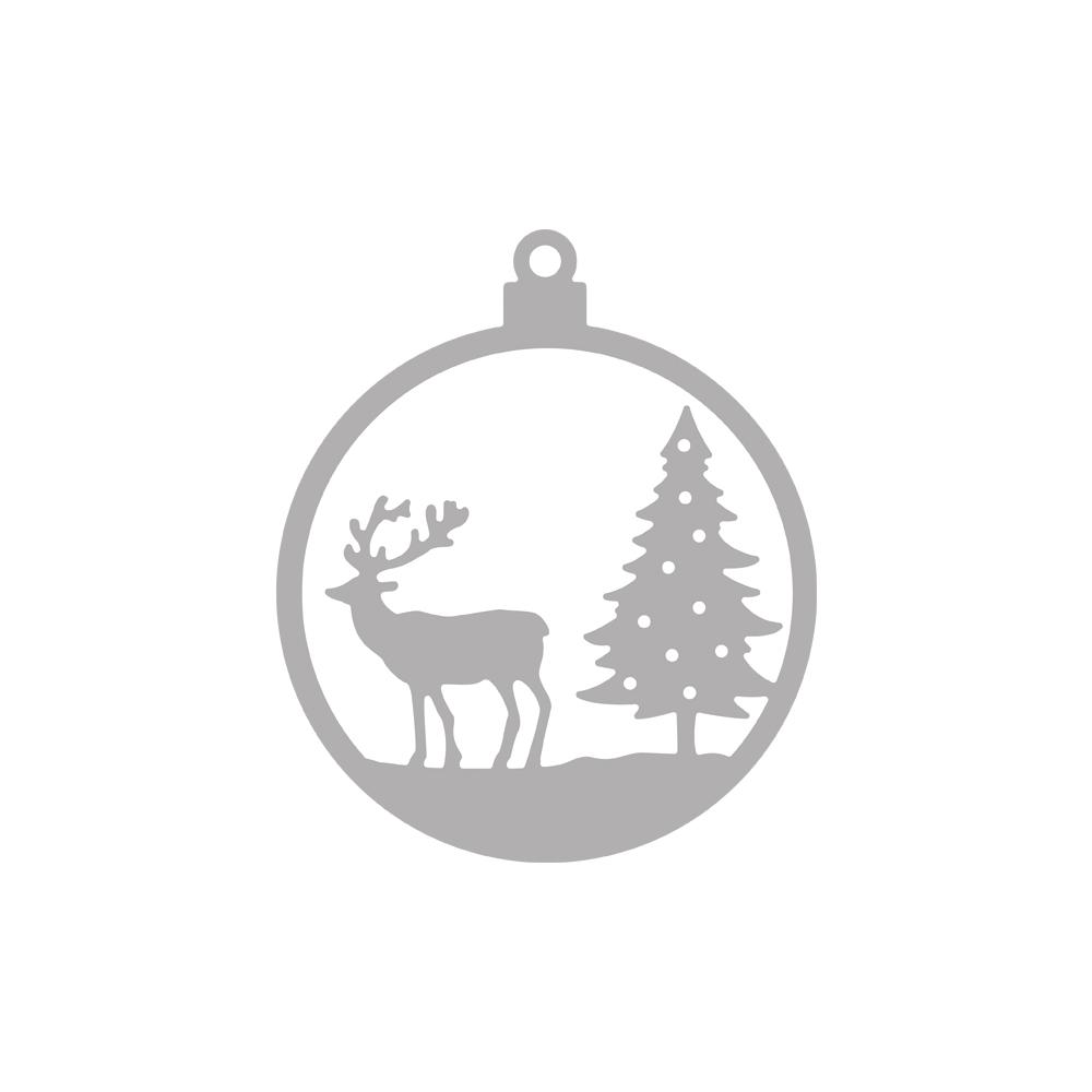 Stanzschablone Weihnachtskugel Hirsch, 6,5cm ø, SB-Btl 1Stück