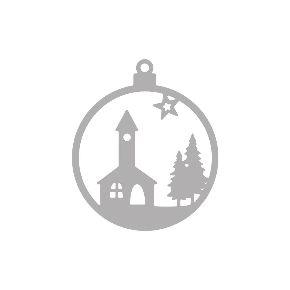 Stanzschablone Weihnachtskugel Kirche, 6,5cm ø, SB-Btl 1Stück