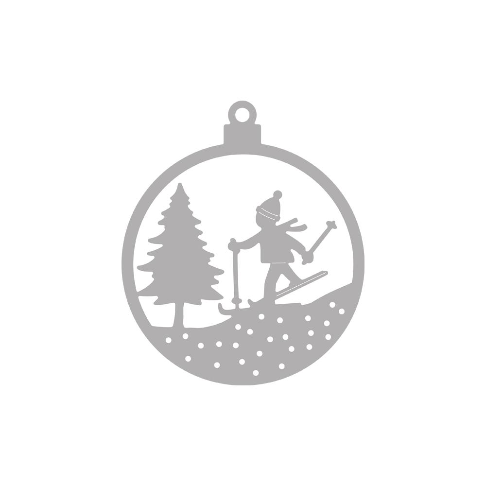 Stanzschablone Weihnachtskugel Skifahrer, 6,5cm ø, SB-Btl 1Stück