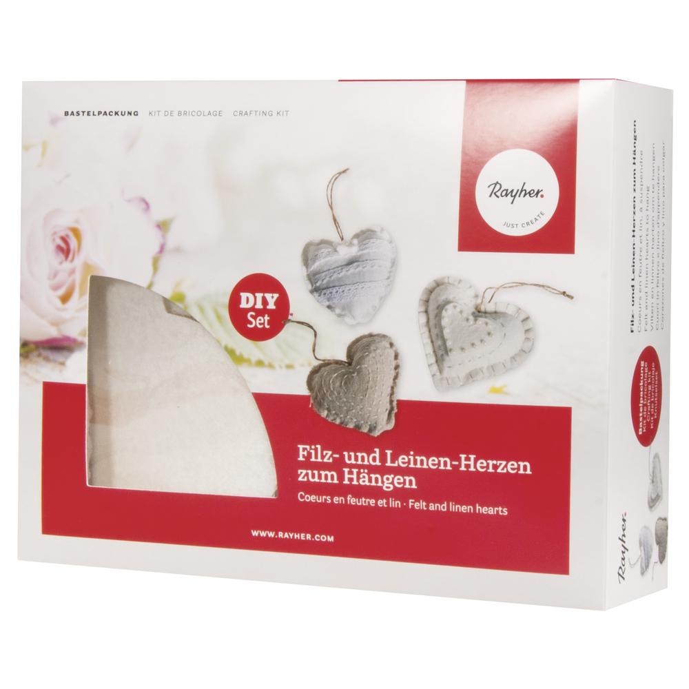 Bastelpackung: Filz und Leinen Herzen zum Hängen, 10cm, Set 3Stück