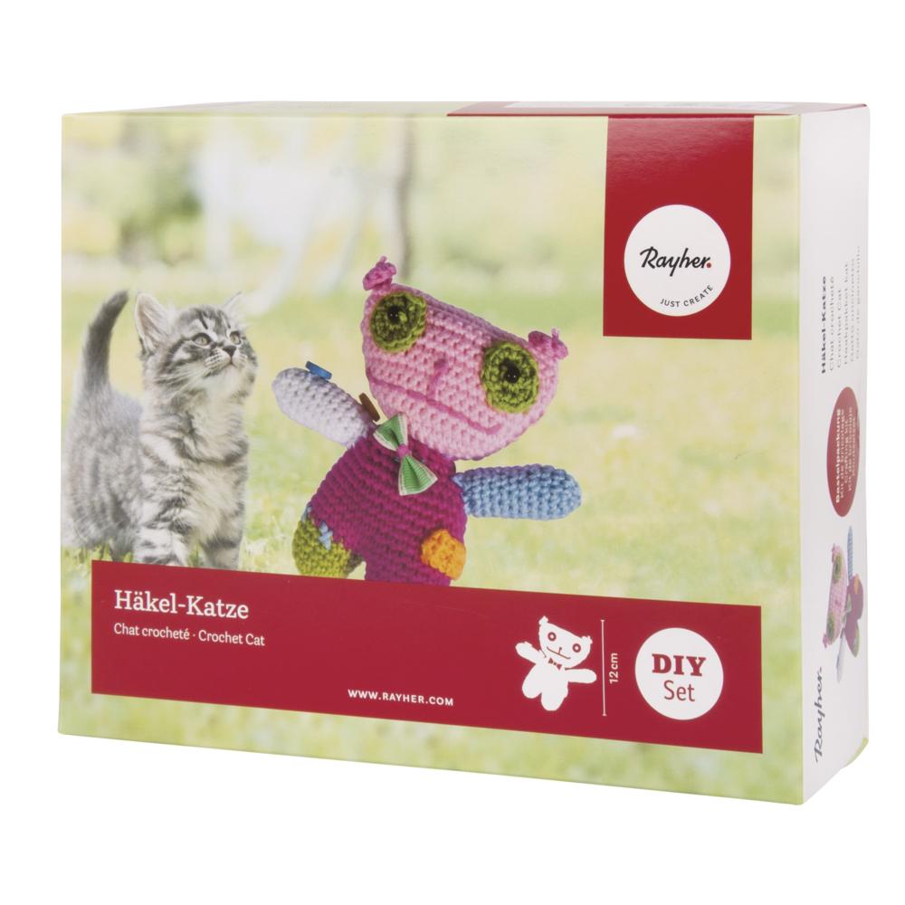 Bastelpackung: Häkel-Katze, 12cm, Box 1Stück