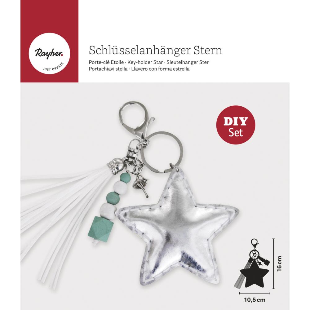 Bastelpackung: Schlüsselanhänger Stern, 10,5x16cm, SB-Btl. 1Stück
