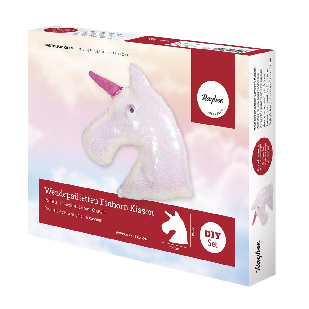 Bastelpackung: Wendepailletten Einhorn Kissen, 24x23cm, Box 1Stück, weiß/irisierend