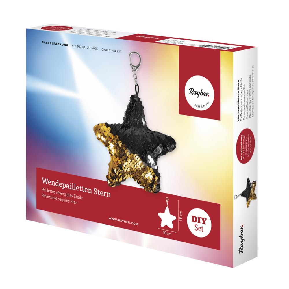 Bastelpackung: Wendepailletten Stern, 15x10cm, Box 1Stück, gold/schwarz