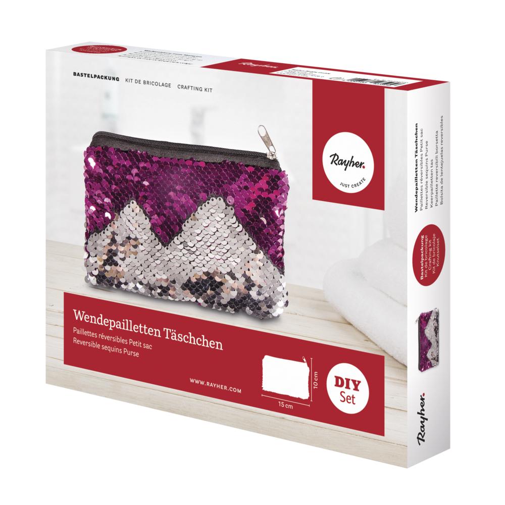 Bastelpackung: Wendepailletten Täschchen, 15x10cm, Box 1Stück, silber/pink