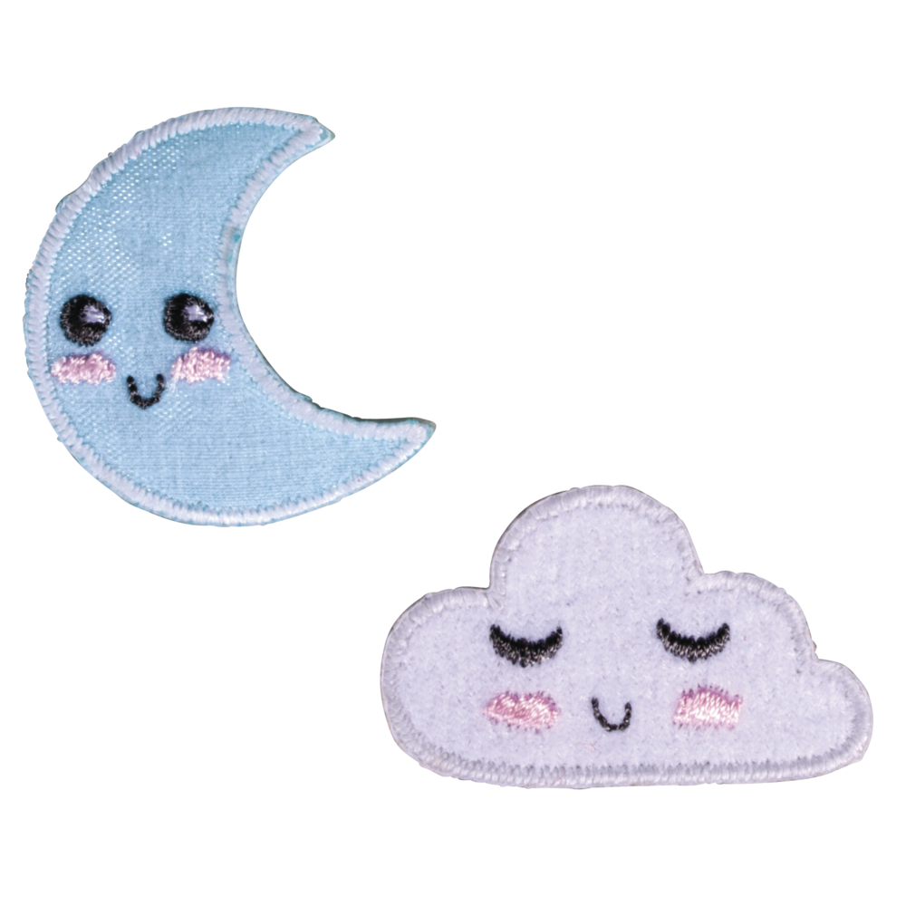 Patch Moon and Cloud zum Aufbügeln, 2,5-3,6x2,2-3,1cm, SB-Btl. 2Stück