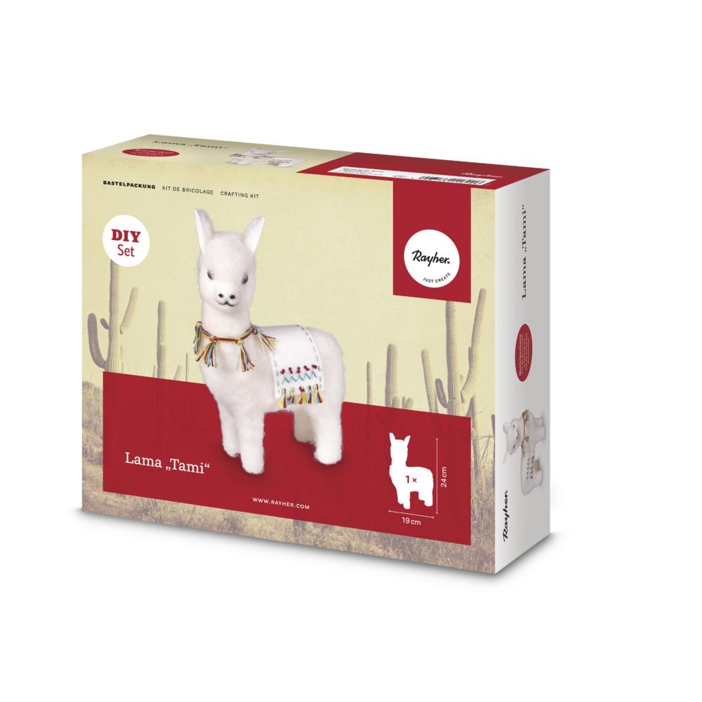 Bastelpackung: Lama Tami stehend zum Filzen, 19x8x24cm, Box 1Stück