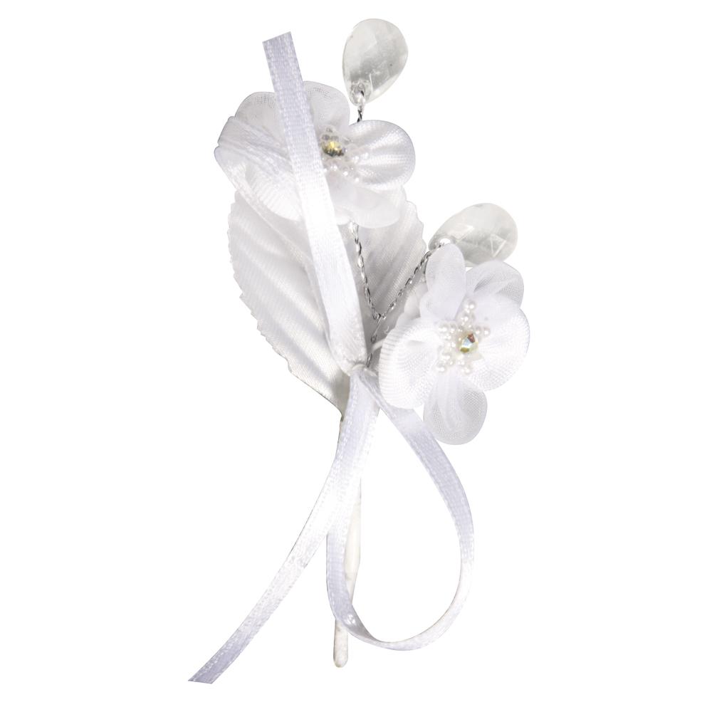 Organza Satin Stern Blüten Anstecker, 8,5cm, mit Strass, 2Stück, weiß