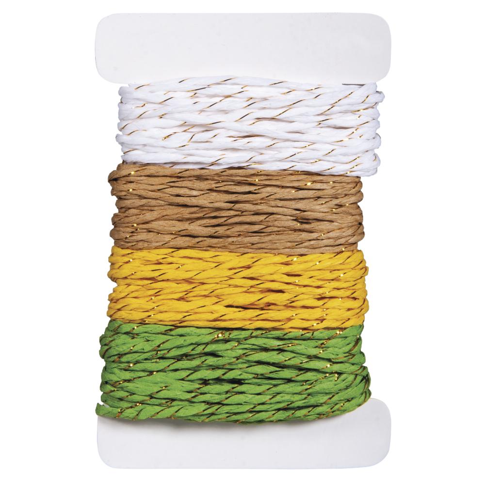 Papierkordel mit Goldfaden , 2mm ø, 4 Farben á 5m, SB-Btl 20m