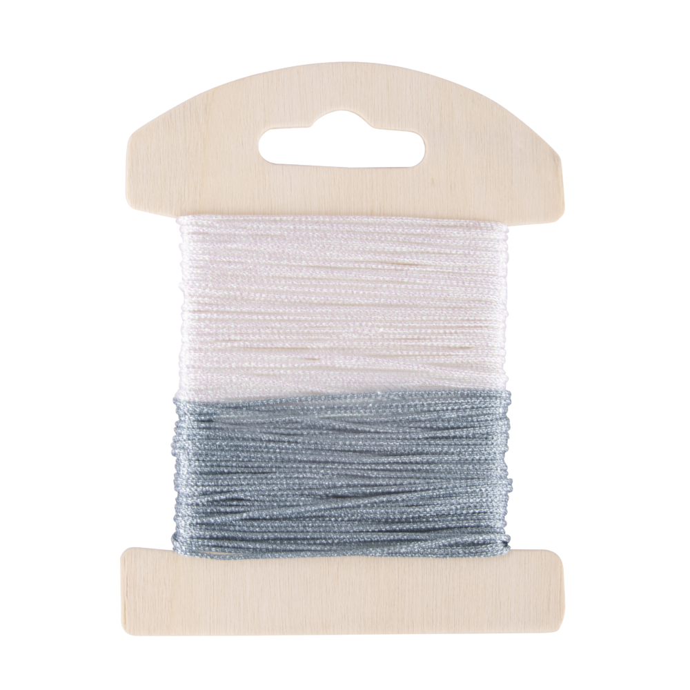 Glimmer Dekokordel, 1mm ø, 2x8meter,weiß/eisblau, SB-Karte