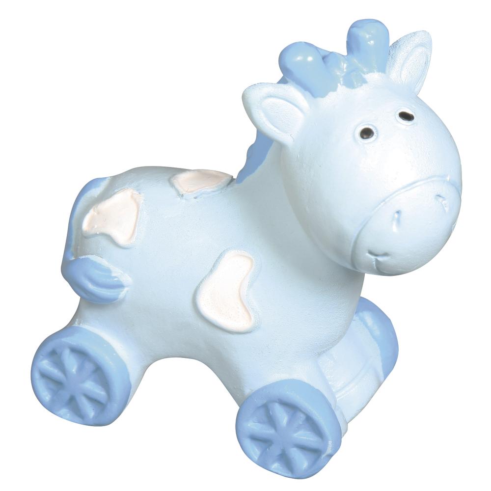 Polyresin Pferd, 4,5x4,5x2cm, babyblau