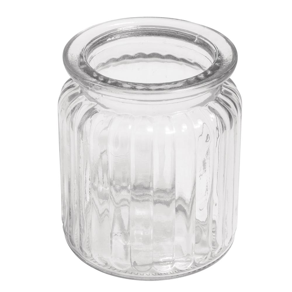 Glas-Gefäß Rillen, 7,5x9cm, Öffnung ø 5,5cm, 270ml