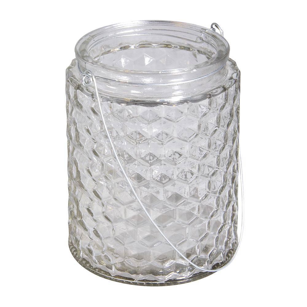 Glasgefäß Wabe mit Henkel, 11x11x13,5cm, 650ml