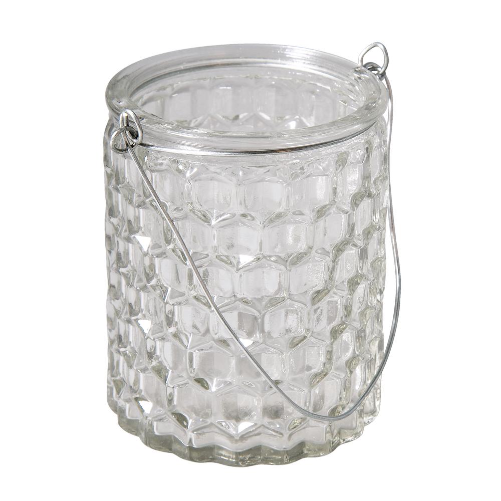 Glasgefäß Wabe mit Henkel, 7,5x7,5x9cm, 200ml