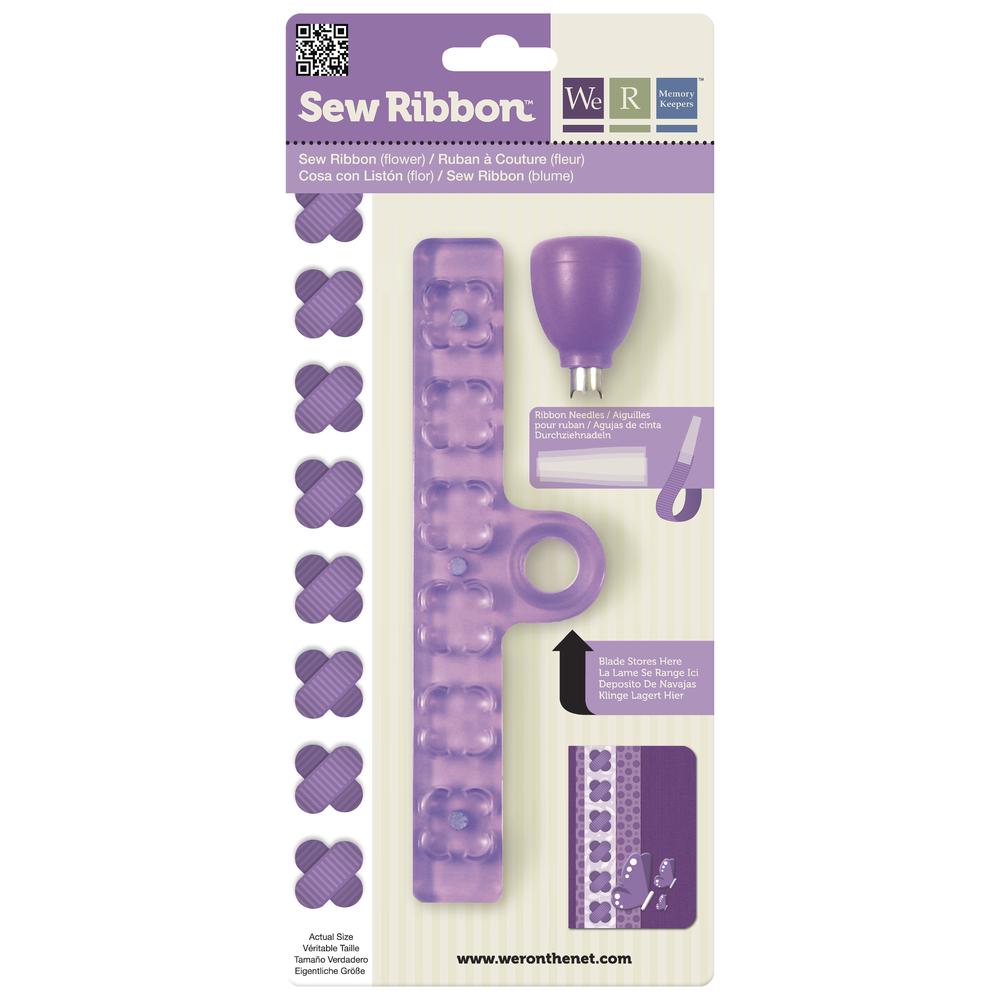 Sew Ribbon Punch&Stencil Set-Flower, m. 3 Plastiknadeln, SB-Bli 1Set