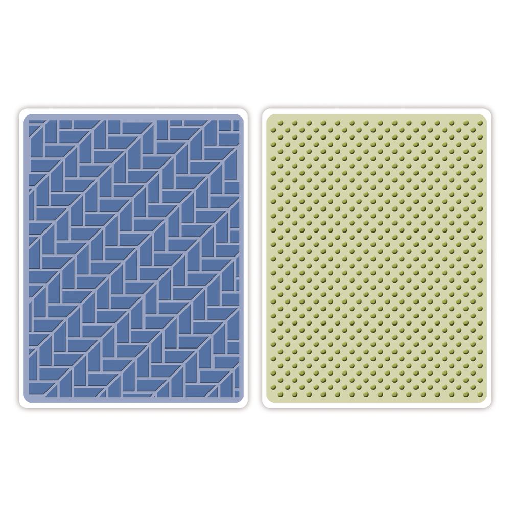 Sizzix Textured Impressions Emb. Folders, Houndstooth&Dots, SB-Blister 2Stück, 14,60x11,43x0,31 cm