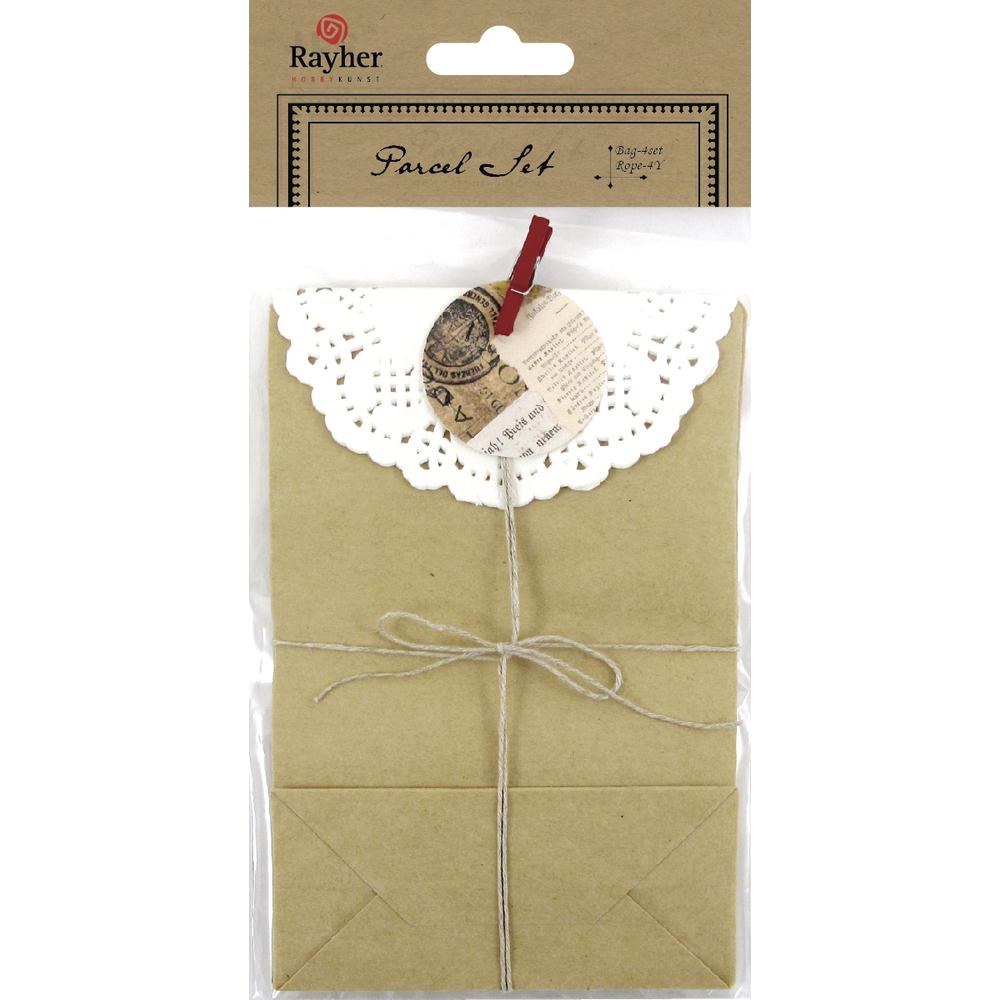 Geschenktüten, 9x3,5x14cm, 4xPäckchen+1xSchnur, SB-Btl