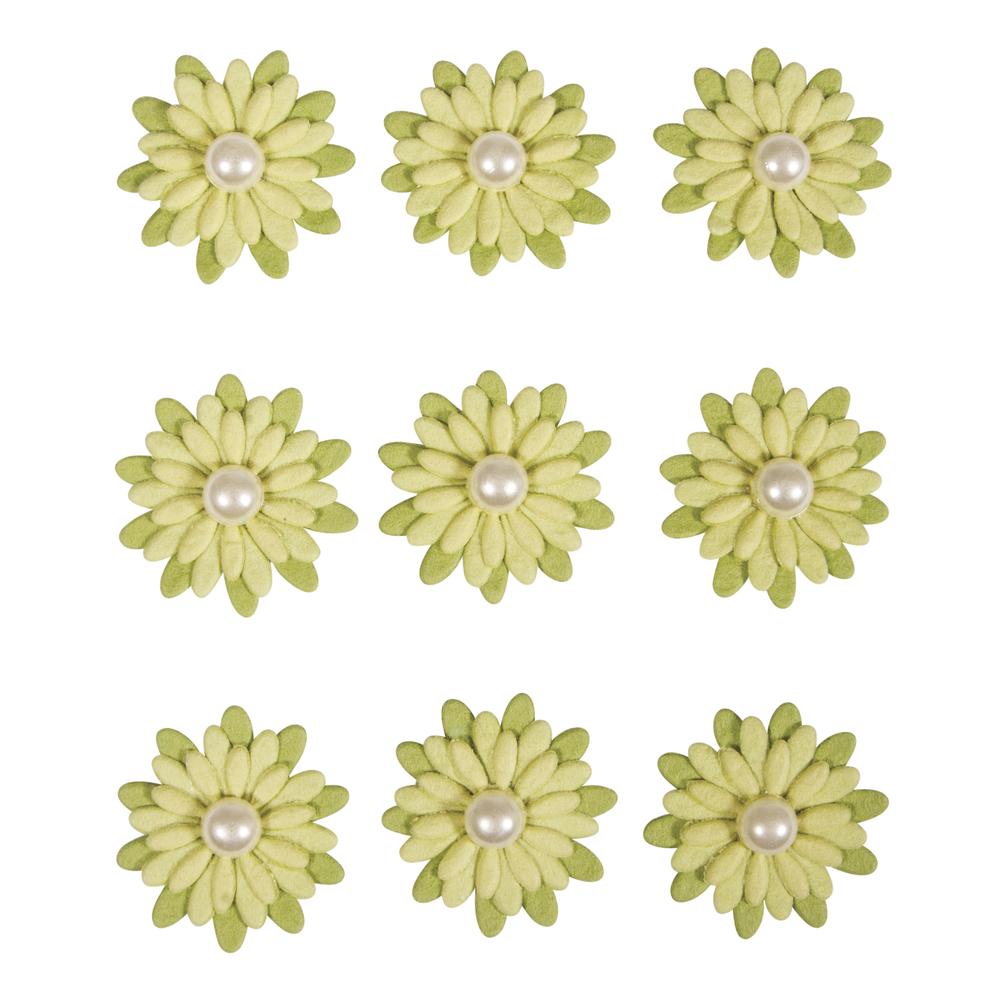 Deko-Sticker: Papierblüten m. Halbperle, m. Klebepunkt, SB-Btl 9Stück