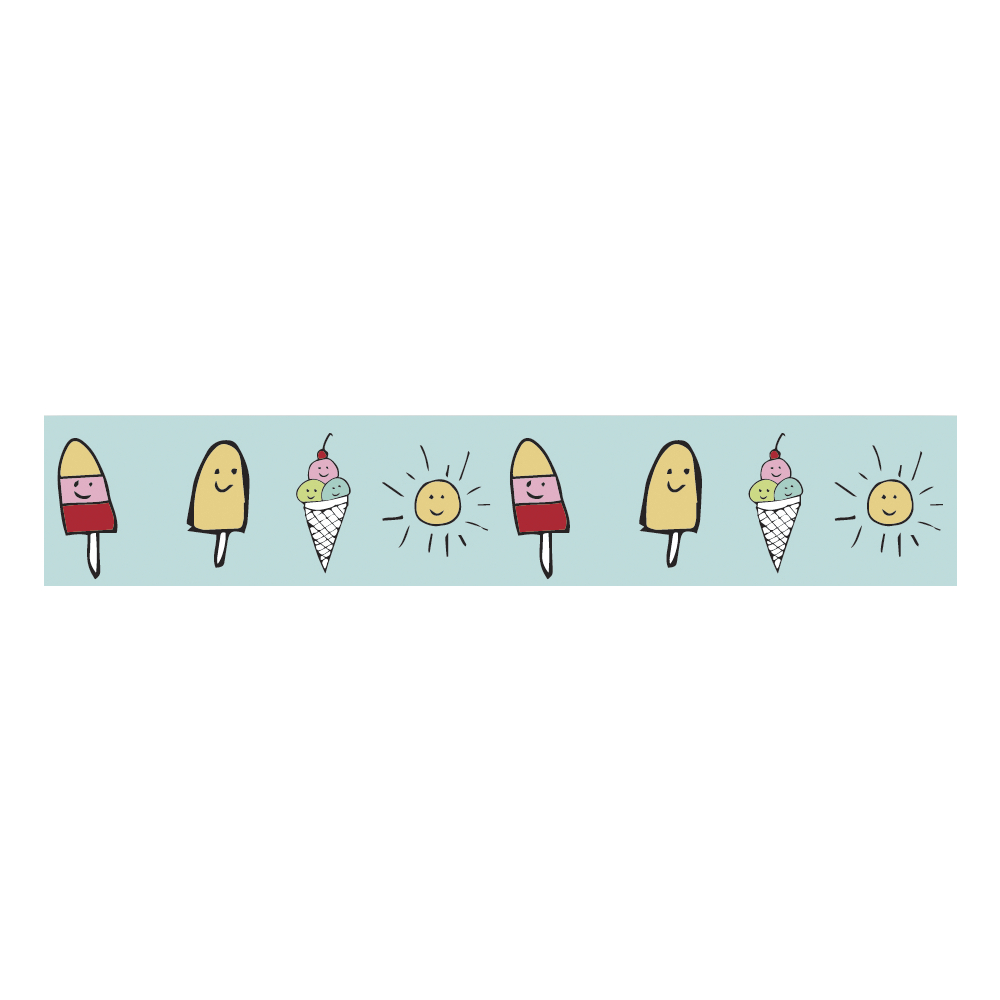 Washi Tape Sunny Icecream, 15mm, Rolle 10m