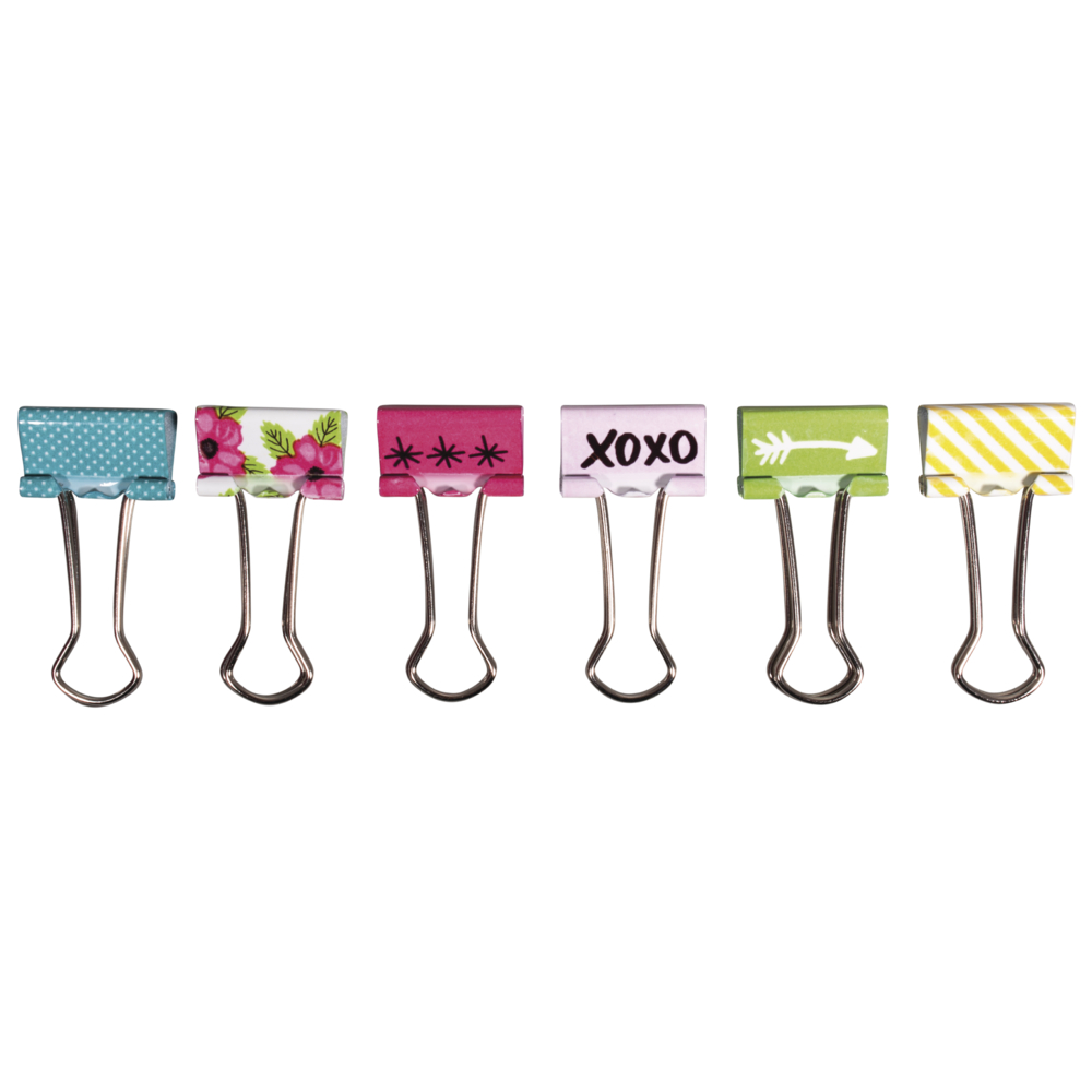 Binder Clips Happy, 2cm, 6 Designs, SB-Btl 6Stück