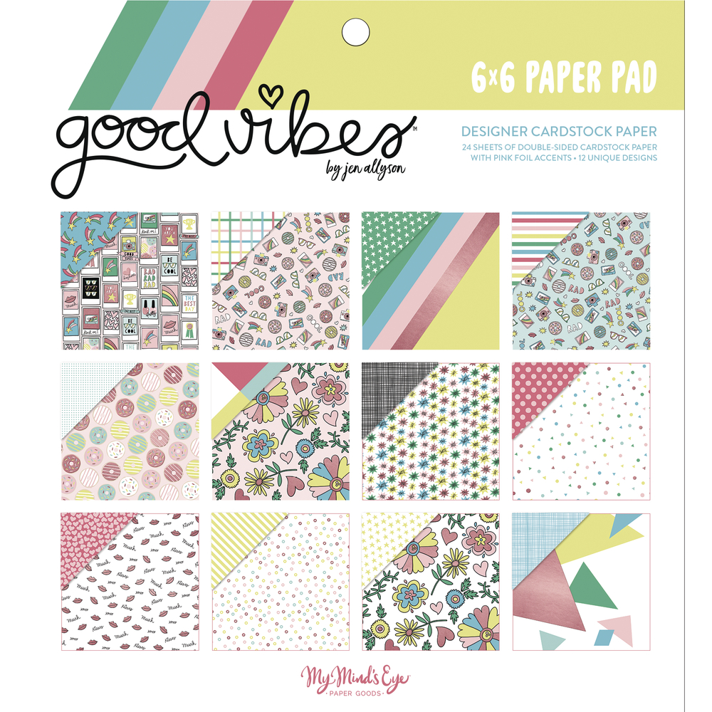 Scrapbooking Block Good Vibes, 15,2x15,2cm, 190g/m2, Block 24Bogen