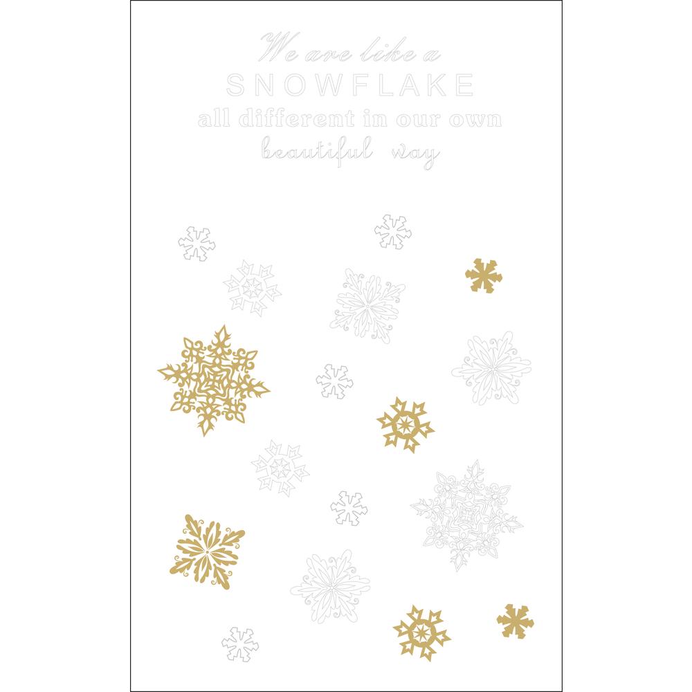 Deko-Abziehmotive Snowflake, Spruch+Schneeflocken, SB-Btl 2Bogen, weiß/gold