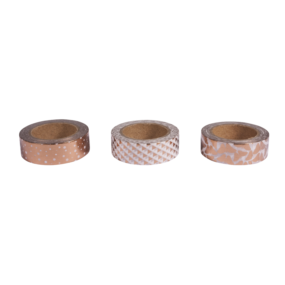 Washi Tape Set White/Rose Gold Foil, 15mm, 3 Designs á 10m, Box 30m